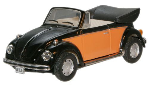 CARARAMA VW Beetle Convertible Orange/Black - 1:43 Scale - OxfordDiecast