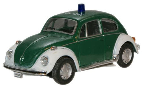CARARAMA VW Beetle Green/White Polize - 1:43 Scale - OxfordDiecast