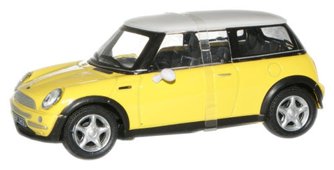 CARARAMA 1:43 New Mini Cooper White/Yellow - 1:43 Scale - OxfordDiecast