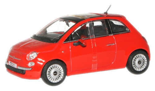 CARARAMA 1:43 New Fiat 500 Red - 1:43 Scale - OxfordDiecast