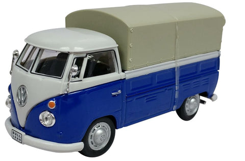 Cararama VW T1 Pick Up White and Blue