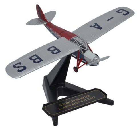 Oxford Diecast DH Puss Moth G-ABBS  Kings Flight 7 1:72 Model Aircraft