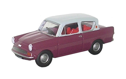 Oxford Diecast Anglia Car Maroon - Grey Roof - 1:76 Scale