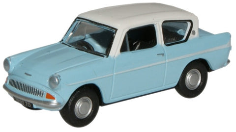 Oxford Diecast Lt.Blue/Ermine White Ford Anglia - 1:76 Scale