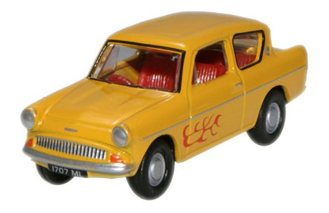 Oxford Diecast Ford Anglia Yellow (The Young Ones/Vyvyan) - 1:76 Scale
