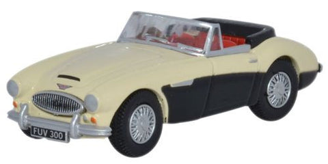 Oxford Diecast Austin-Healey 3000 Ivory White/Black - 1:76 Scale