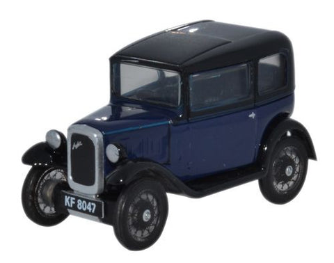 Oxford Diecast Austin Seven RN Saloon Light Royal Blue - 1:76 Scale