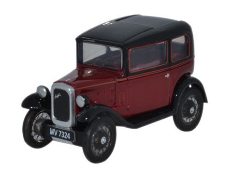 Oxford Diecast Austin Seven RN Saloon Maroon - 1:76 Scale