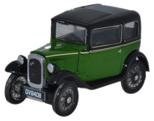 Oxford Diecast Austin Seven Saloon Westminster Green - 1:76 Scale
