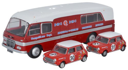Oxford Diecast BMC Car Transporter & Two Minis BMC Competitions Dept -