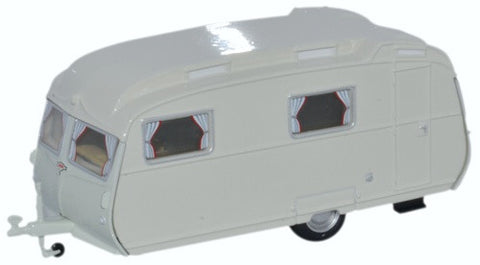 Oxford Diecast Carlight Continental Caravan Light Grey