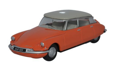 Oxford Diecast Citroen DS19 Coral _ Dove Grey - 1:76 Scale