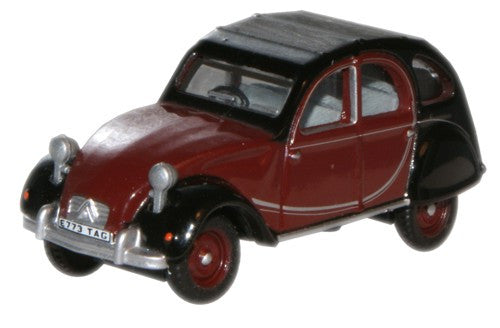 Oxford Diecast Charleston Maroon/Black Citroen 2CV - 1:76 Scale