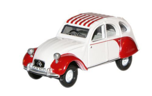Oxford Diecast Dolly Red White Citroen 2CV - 1:76 Scale