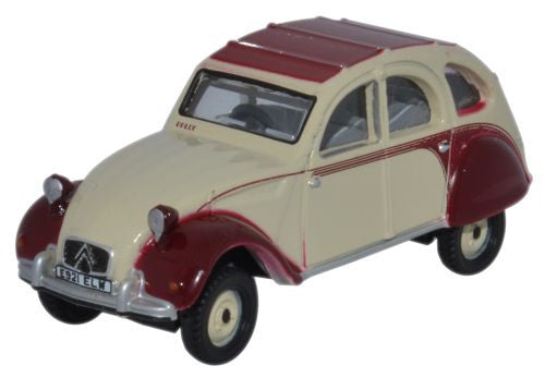 Oxford Diecast Citroen 2CV Dolly Plum - Custard - 1:76 Scale