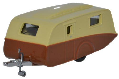 Oxford Diecast Caravan Cream -Brown - 1:76 Scale