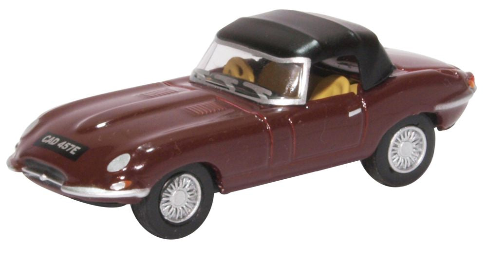 Oxford Diecast 1 76 Scale Jaguar E Type Soft Top Imperial Maroon