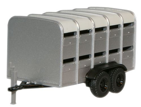 Oxford Diecast Livestock Trailer Grey - 1:76 Scale