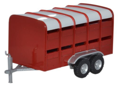 Oxford Diecast Livestock Trailer Red - 1:76 Scale