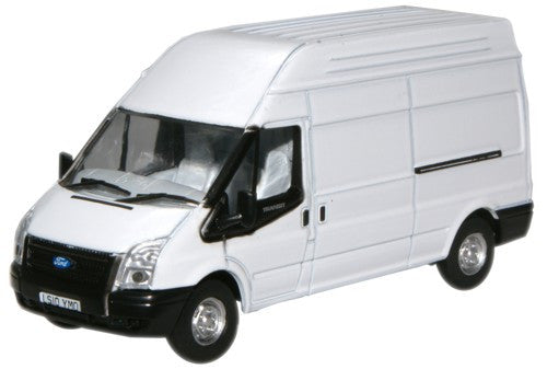 Oxford Diecast White Transit LWB High - 1:76 Scale