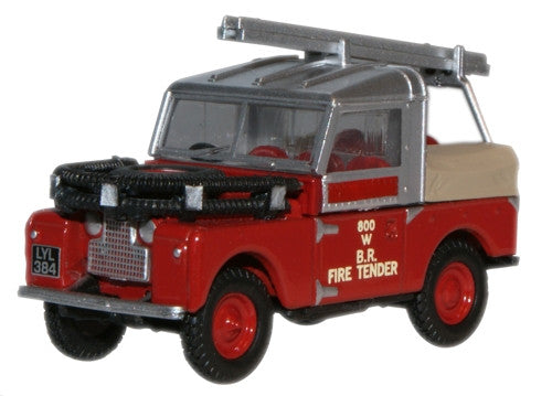 "Oxford Diecast British Rail Land Rover 88"" Fire Tender - 1:76 Scale"