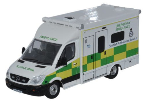 Oxford Diecast Mercedes Ambulance Scottish Ambulance Service - 1:76 Sc