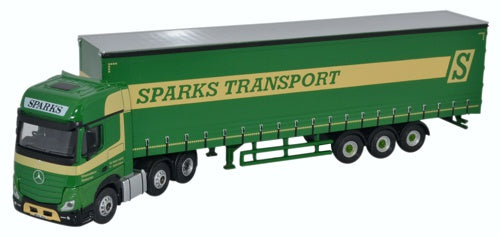 Oxford Diecast Mercedes Actros GSC Curtainside Sparks Transport