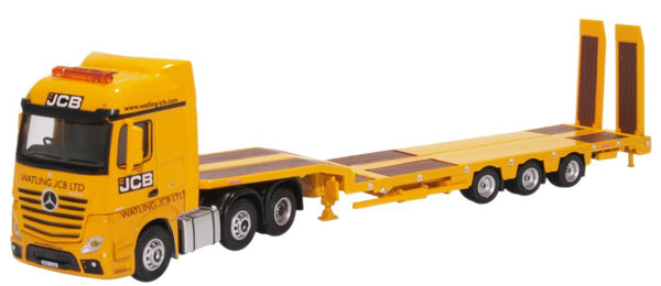 Oxford Diecast Mercedes Actros Semi Low Loader JCB