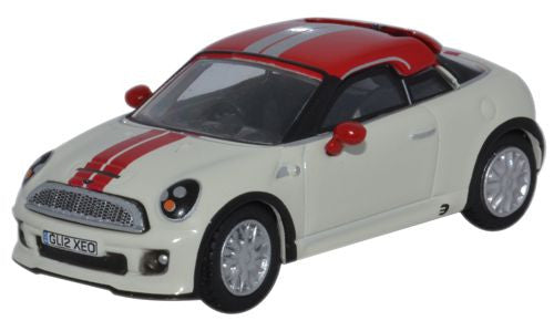 Oxford Diecast Mini Coupe Pepper White and Chilli Red - 1:76 Scale