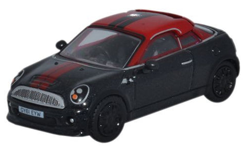 Oxford Diecast Mini Coupe Midnight Black/Red - 1:76 Scale