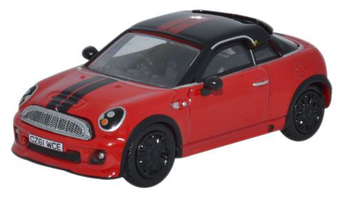 Oxford Diecast Mini Coupe Chilli Red/Black - 1:76 Scale