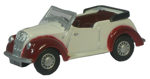 Oxford Diecast Ivory/Maroon Morris 8 - 1:76 Scale
