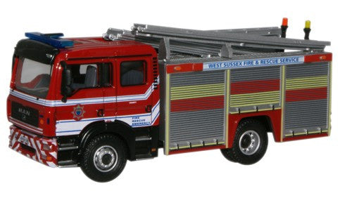 Oxford Diecast West Sussex F & R Service MAN Pump Ladder - 1:76 Scale