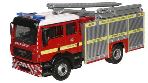 Oxford Diecast Devon and Somerset F and R MAN Pump Ladder - 1:76 Scale