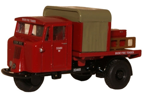 Oxford Diecast BR Rail Mechanical Horse Rigid Fire Tender - 1:76 Scale