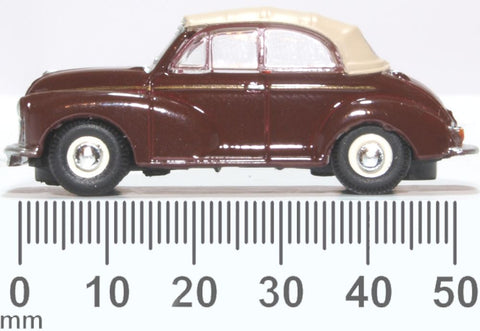 Oxford Diecast Morris Minor Convertible Maroon Tan