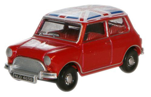 Oxford Diecast Tartan Red/Union Jack Austin Mini - 1:76 Scale