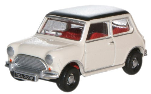 Oxford Diecast Old English White/Black Austin Mini - 1:76 Scale