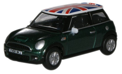 Oxford Diecast NEW Mini  BRG Metallic/Union Jack - 1:76 Scale