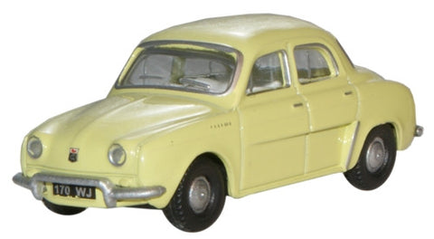Oxford Diecast Renault Dauphine Yellow - 1:76 Scale