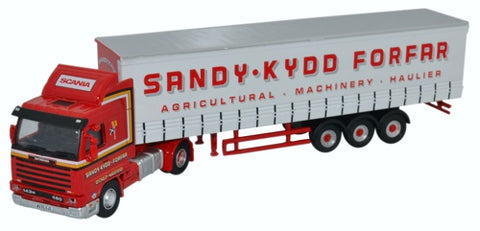 Oxford Diecast Scania 143 Short Curtainside Sandy Kydd