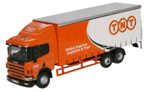 Oxford Diecast Scania 94 6 Wheel Curtainside TNT - 1:76 Scale