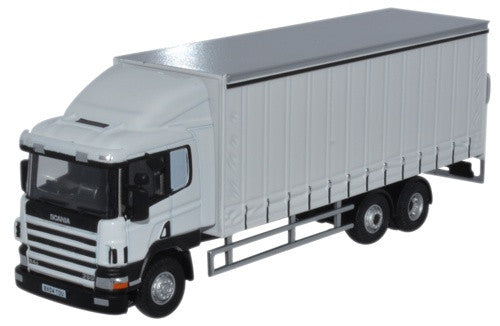 oxford diecast scania 6 wheel curtainside lorry white 1 76 scale