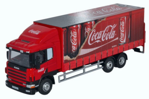 Oxford Diecast Scania 94D 6 Wheel Curtainside Coca Cola
