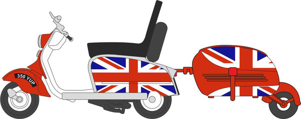 Oxford Diecast Scooter & Trailer Union Jack