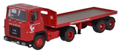 Oxford Diecast Scania 110 Flatbed Trailer BRS  - 1:76 Scale