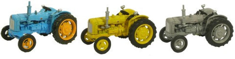 Oxford Diecast Triple Tractor Set  Blue  Yellow Grey - 1:76 Scale