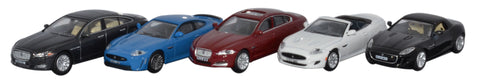 Oxford Diecast 5 Piece Jaguar Set XJ XKR_S XF XK F - 1:76 Scale