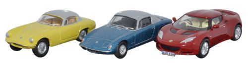 Oxford Diecast 3 Piece Lotus Set Elan_Elite_Evora - 1:76 Scale - OxfordDiecast