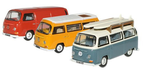 Oxford Diecast VW Bay Window Set Van/Bus/Camper - 1:76 Scale